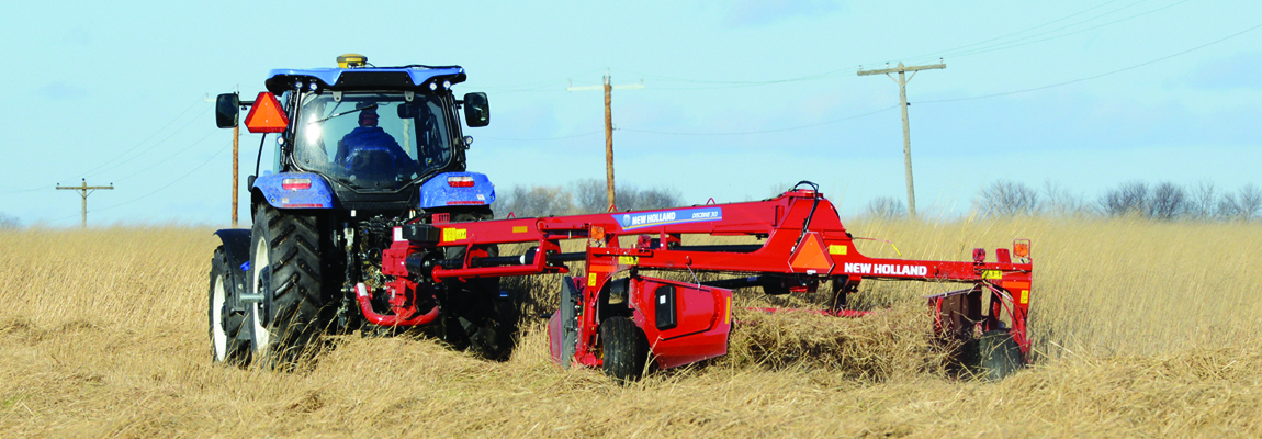 Cutting a switchgrass field for baling.