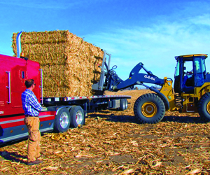 A forktruck is lifting a bale onto a semi truck bed.
